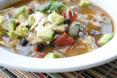 Quick chicken tortilla soup.