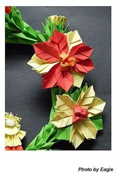 Eagle 摺紙: 摺紙教學 聖誕花環 Christmas wreath 2