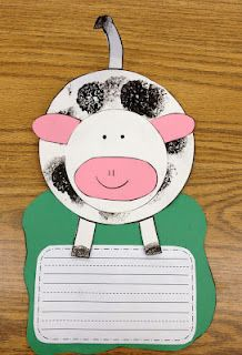 "Craft and writing activity. Most probably a project for next week! ""Thanks to cows we have... ______"""