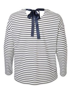 STRIPED LONG SLEEVED BLOUSE, Snow White