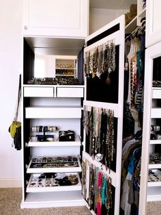 Looking to design a walk-in closet in your home? Let California Closets design a premium closet solution that matches your style, storage needs and budget. Master Closet, Closet Bedroom, Walk In Closet, Closet Space, Closet Wall, Pax Closet, Cabinet Closet, White Closet, Attic Closet