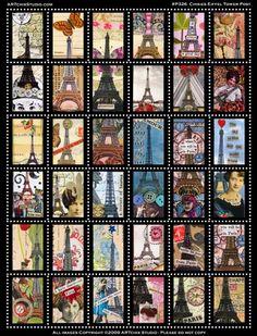 Chixies Eiffel Tower Post Digital Collage Sheet