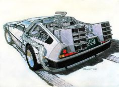 Concept to creation: original movie car design sketches Dmc Delorean, Delorean Time Machine, Back To The Future Tattoo, Old Sports Cars, Cool Car Drawings, Mustang Gt500, Street Racing Cars, Car Design Sketch, Ghost In The Shell