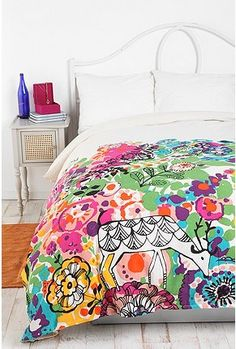 Love the colors, maybe not the deer...   Woodland Garden Duvet Cover  Online Only  $79.00-$89.00