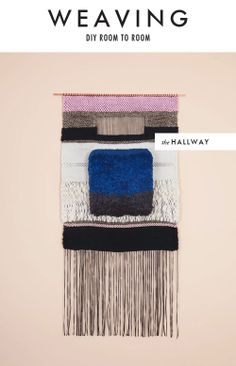 Mimi Jung and Brian Hurewitz; Wool, Cotton and Copper 'Blue and Gray Square' Weaving for Brook & Lyn, Woven Chair, Woven Rug, Tapestry Weaving, Loom Weaving, Weaving Art, Wall Tapestry, Arts And Crafts, Diy Crafts, Textiles