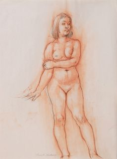 """""""Female Figure Drawing 11-51"""", 2011 female figure study rendered of conté and charcoal on newsprint paper.  Approximate dimensions:  18"""" H x 24"""" W.  Unframed, $125"""