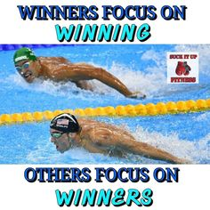 Always focus on your goal. When you take your eyes off of it and look at your competition  you falter. Phelps was single-minded focused on this race. Chad le Clos was focused on Phelps and he lost. Stop worrying about everyone else around you. They aren't your competition.  Your competition is who you were yesterday and your excuses. Focus on your goal become single minded in reaching that goal. Block out the noise and know no matter what you have inside of you what it takes to reach that…