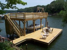 For solid custom decks that will last the test of time contact the Alabama company that does it right. Call us at today! Lake Dock, Boat Dock, Lake Landscaping, Dock House, Floating Dock, Floating Island, Lakefront Property, Boat Lift, Custom Decks