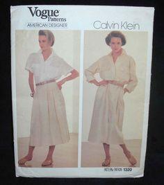 Vintage 80s VOGUE 1320 American Designer pattern CALVIN KLEIN dress shirt skirt
