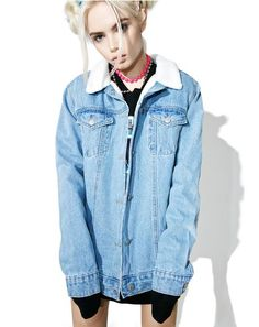 "Glamorous Forever Or Never Denim Jacket cuz it's either all or nothing, bb. This denim jacket is a selfish bih featuring a faux shearling collar, oversize fit, metal button front closure, and back patches that read ""love me forever or never."""