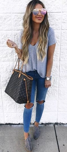 fashion summer outfits style | Tee & Jeans Kind Of Night