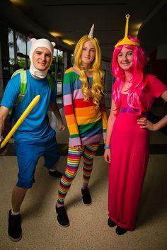 Finn, Rainicorn, and Bubblegum from Adventure Time   Florida Supercon 2013 #Cosplay
