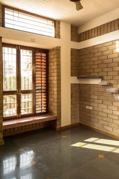 Strategically placed windows with wooden louvers ensures cross ventilation and adequate day light Indian Window Design, Wooden Window Design, House Window Design, Indian Interior Design, Indian Home Design, Village House Design, Kerala House Design, Bungalow House Design, House Front Design