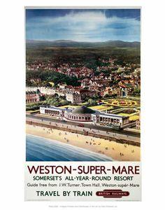 Kunstdruck: Weston-Super-Mare, Somersets All-Year-Round Resort: Source by artdotcom Posters Uk, Train Posters, Beach Posters, Railway Posters, Music Posters, British Travel, British Seaside, By Train, Rail Train