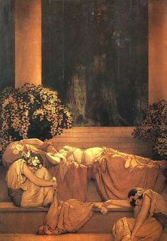 """This illustration came from:    """"Sleeping Beauty""""  (1912)   Maxfield Parrish   Medium: Oil on Panel"""
