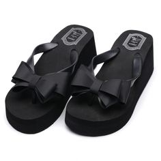 5eef160a7760d Ladies Summer Platform Flip Flops Thong Wedge Beach Sandals Knotbow Shoes