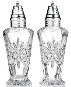 The sparkling sophistication of yesteryear makes a chic comeback with these elegant salt and pepper shakers, featuring the intricate starburst pattern of Godinger's popular Dublin crystal serveware co Salt Pepper Shakers, Salt And Pepper, Crystal Collection, Serveware, Mens Gift Sets, Eyeshadow Makeup, Dublin, A Table, Jewelry Watches