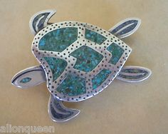 Vintage TAXCO MEXICO 925 Sterling Silver TURQUOISE Inlay SEA TURTLE PIN/PENDANT | eBay