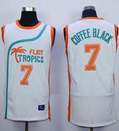 bebd70a1a3d Flint Tropics  7 Coffee Black White Semi-Pro Movie Stitched Basketball  Jersey Cheap Nba