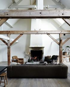 Love the openness and cross beams