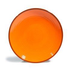 Plato de postre de loza naranja y verde Ø 20 cm MADRID   - Vendido por 8