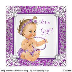 Baby Shower Girl Glitter Purple Silver Lace Blonde Invitation