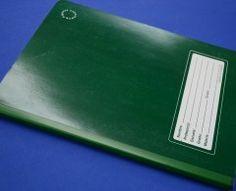 Libreta verde rayadas cosido