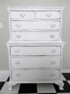 Vintage Dresser I painted white and Distressed for my girlfriend Pam who moved in a wonderful 1930s home. She is doing her bedroom all Shabby.