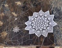 ... a stunning crochet installation by by NeSpoon Polska in an abandoned monastery in Grottaglie, Italy