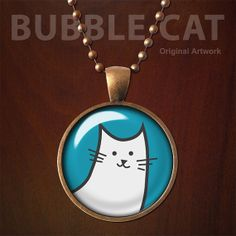 Bubble Cat  Pendant, Glass Dome, Cat Necklace with Chain (050)