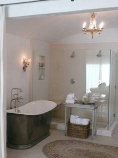 Brooke G of Velvet and Linen  limestone shower