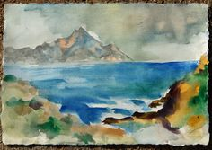 Mt Athos from Sithonia, watercolour on paper