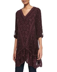 Yen Embroidered V-Neck Tunic, Deepest Plum, Women\'s  by Johnny Was Collection at Neiman Marcus.