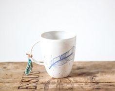 Handmade ceramic cup/ modern design mug/ white/ by OlisCupboard