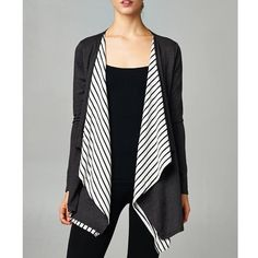 """1DAYSALE """"No More Cliches"""" Striped Accent Cardigan Charcoal cardigan with striped accents. True to size. Brand new. True to size. NO TRADES. Bare Anthology Sweaters Cardigans"""