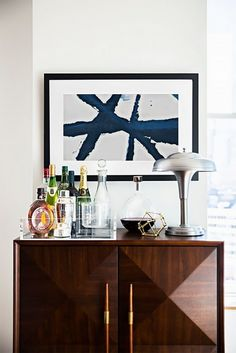 bar console.... make the bar on any surface top with clear tray...