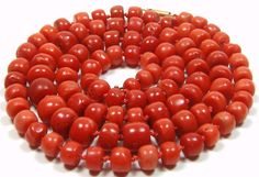 Antique 14k Red Natural Coral Necklace Chinese Beads Old Heavy 43g | eBay