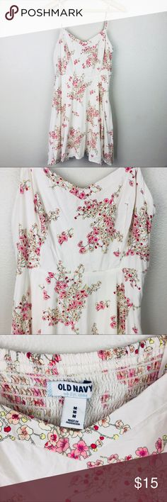 Old Navy Floral Print Fit and Flare Sun Dress Barely worn! Beige dress with pink and red cherry blossom floral design. Spaghetti straps that are adjustable. Old Navy Dresses Midi