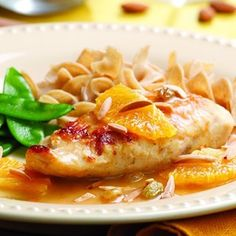 Here we combine raisins, cinnamon, honey and almonds with orange juice, zest, wine and broth to make a rich, savory pan sauce for chicken. There's plenty of the gorgeous sauce, so be sure to serve whole-wheat egg noodles, couscous or rice on the side.