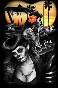 Chola art skull black and white bad ass girl