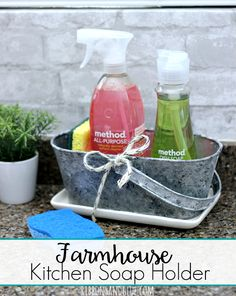 Farmhouse Kitchen Soap Holder made from a galvanized bucket, distressed with paint and filled with kitchen soap and sponges. Easy Farmhouse DIY. #CleanMyWay #TeamSponge #ad @krogerco