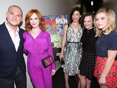 NO MEN ALLOWED That's one lucky guy! Deadline reporter Dominic Patten poses with the gorgeous ladies of Mad Men – Christina Hendricks, Jessica Paré, Elisabeth Moss and Kiernan Shipka – at the Awardsline/Deadline screening of the AMC show on Tuesday in Los Angeles.