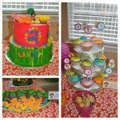 """Dora Luau - cake and cupcakes by classycakesbylori.com.  Palm tree and """"2"""" sugar cookies."""