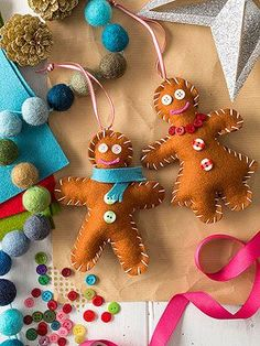 These felt gingerbread ornaments would make a sweet gift. Click through for how to make them. #parentsgifts @Parents Magazine