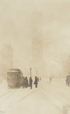 Jessie Tarbox Beals, Times Square NY in snow, ca. 1920.