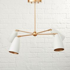 Sale ends soon. Shop Spotlight White and Gold Pendant. Are you ready for your spotlight? Well, are you ready for four of them? Our Spotlights Pendant features four separate bulbs and shades that can be positioned any which way.