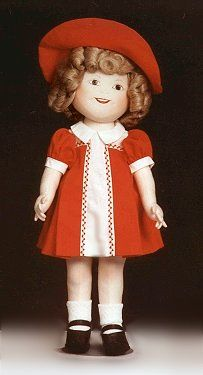 """Shirley Temple -Here is the VERY FIRST 18"""" Shirley Temple made in 1978.  This is my prototype doll. (sorry, she has a bit of dirt on her nose) She was the start of Judi's Dolls! When I placed a little ad in a doll repair newsletter, I was SWAMPED with orders for her pattern and a business was begun. Totally by accident!"""