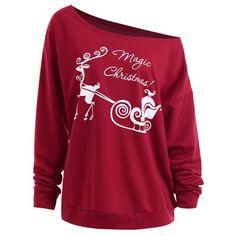 9b145954452f0 Christmas Sled Print Drop Shoulder Plus Size Sweatshirt - Wine Red 2xl  Mobile