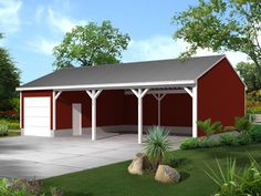 Learn about the McDonald Pole Building Shed from House Plans and More and see the information you need to buy and construct Plan Shed Floor Plans, Shed Plans 12x16, Pole Building House, Pole Barn Garage, Carport Garage, Garage Plans, Detached Garage, Flat Roof Shed, Shed Builders