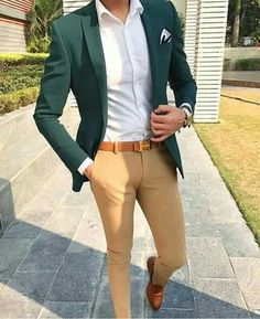 Men Suit's - Stylish Formal Men Work Outfit Ideas To Change Your Green Suit Jacket, Green Blazer Mens, Blazer Outfits Men, Casual Outfits, Dress Casual, Casual Suit, Simple Outfits, Traje Casual, Formal Men Outfit